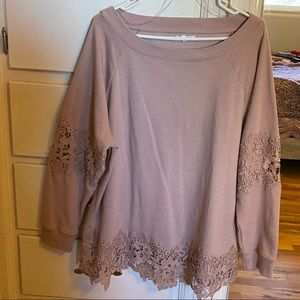 Long Sleeve Lace Cut Out Sweater